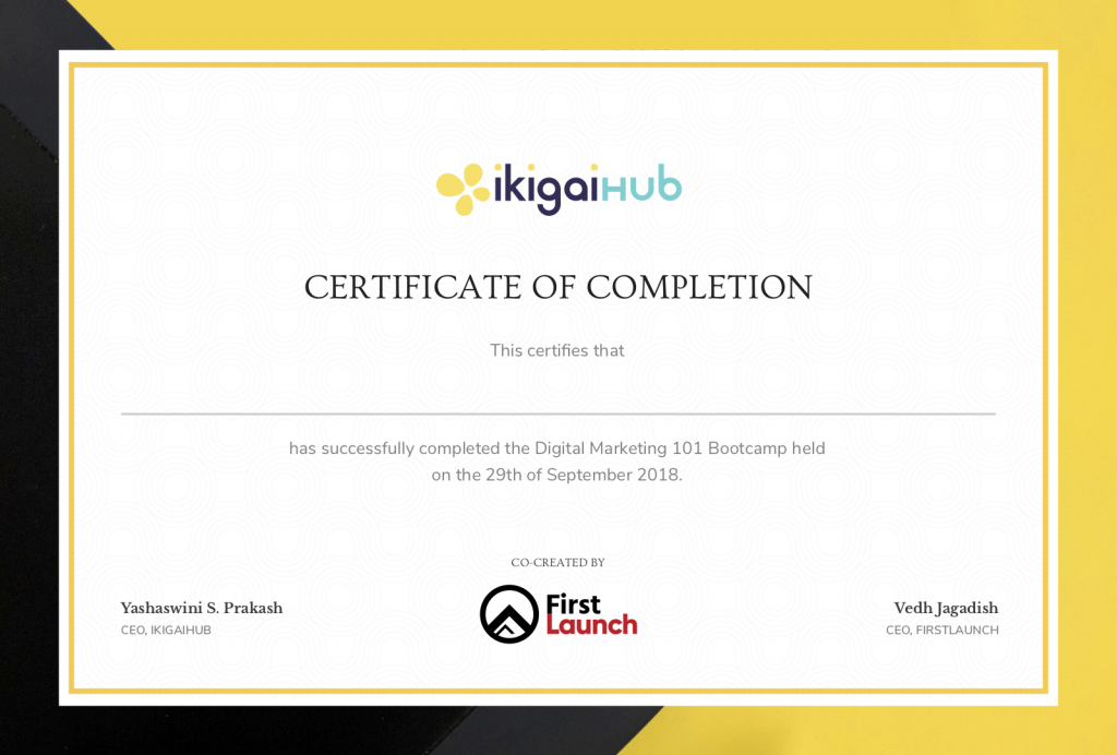 Sample Certificate for Digital Marketing 101 Bootcamp co-created by First Launch
